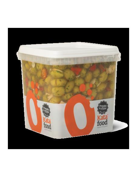 Secchiello di Olive Verdi alla contadina in olio 5,2 Kg