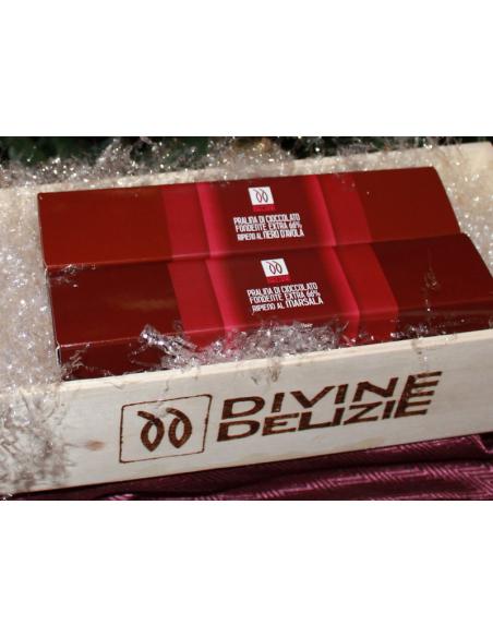 Pralina di cioccolato ripieno Nero d'Avola 50 gr scatola
