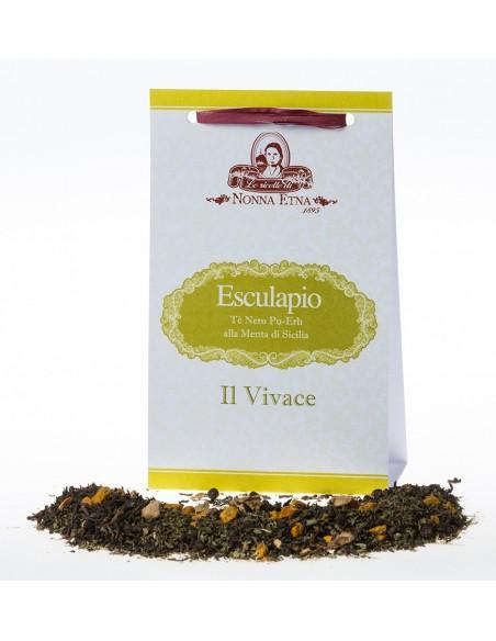 Esculapio - Tè Nero Pu-Erh alla menta di sicilia 100  g - il vivace