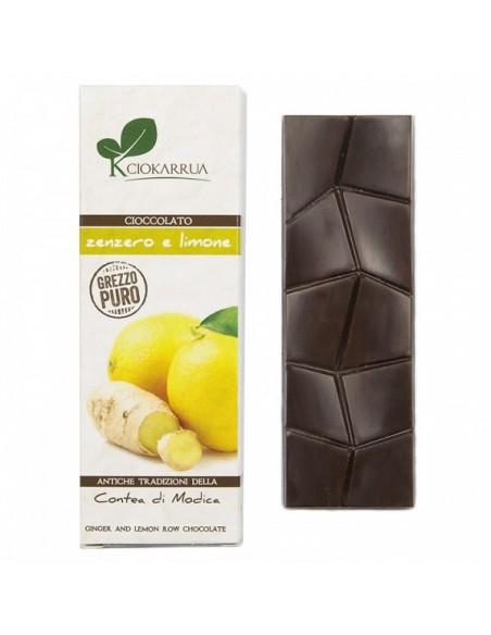 Cioccolato di Modica grezzo puro zenzero e limone 40 gr