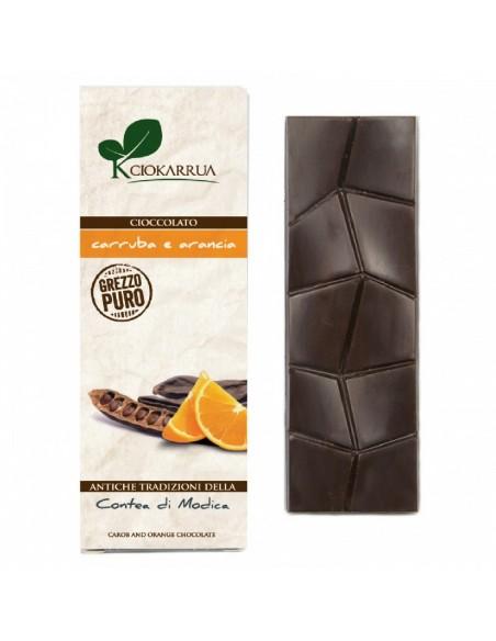 Cioccolato di Modica grezzo puro con carruba e arancia 40 gr