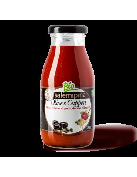 Sugo pronto di ciliegino con olive e capperi 250 gr