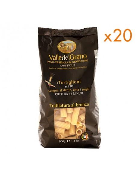 10 kg Tortiglioni trafilati al bronzo Valle del Grano 500 gr - 20 confezioni