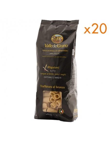 10 kg Rigatoni trafilati al bronzo Valle del Grano 500 gr - 20 confezioni