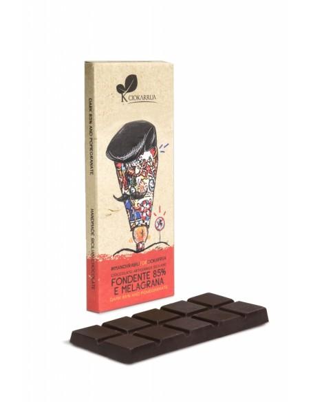 Cioccolato Artigianale Fondente 85% e melagrana 50 gr