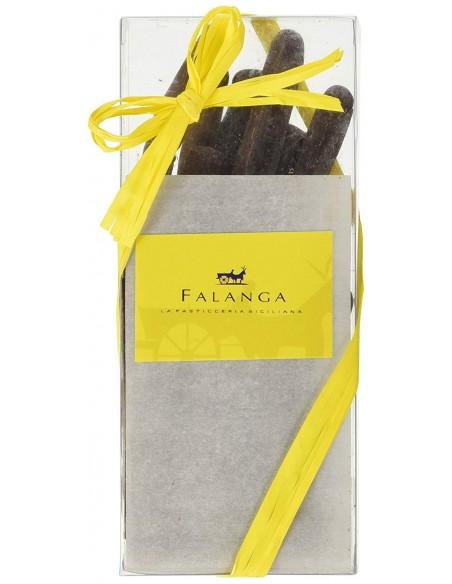 Scorzette di limone Falanga ricoperte di cioccolato fondente 100 gr